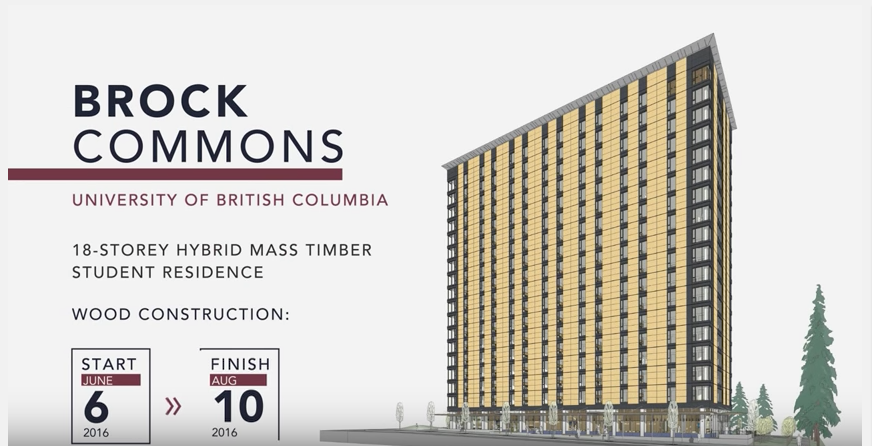 Engineered wood products UBC student residence time-lapse