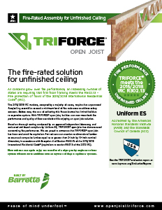 Triforce fire rated solution unfinished floor ceiling